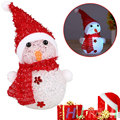 Xmas Christams Crystal Hat Snowman Night Light Colorful LED Home Decor Gift
