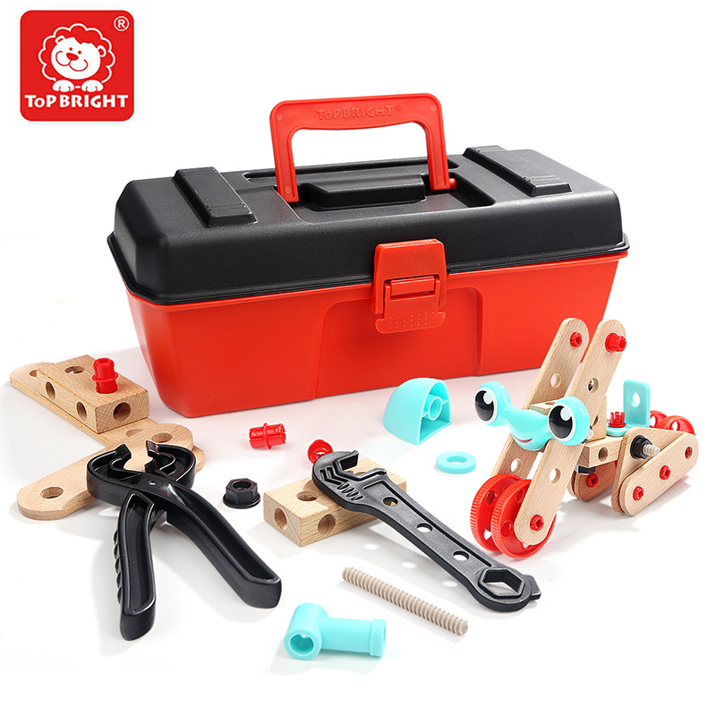 53pcs Wooden With Plastic Screwing Blocks Toy Kids Creative 3D Screw Twisting Assemble Set For Boy DIY Educational Tool Toy Gift