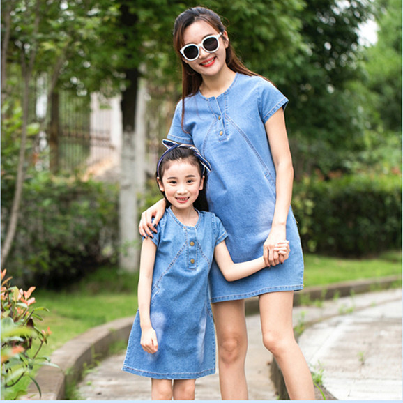 Mother Daughter Matching Dresses High Quality Mom And Daughter Matching Clothes Denim Dress 2018 New Summer Family Look Outfits