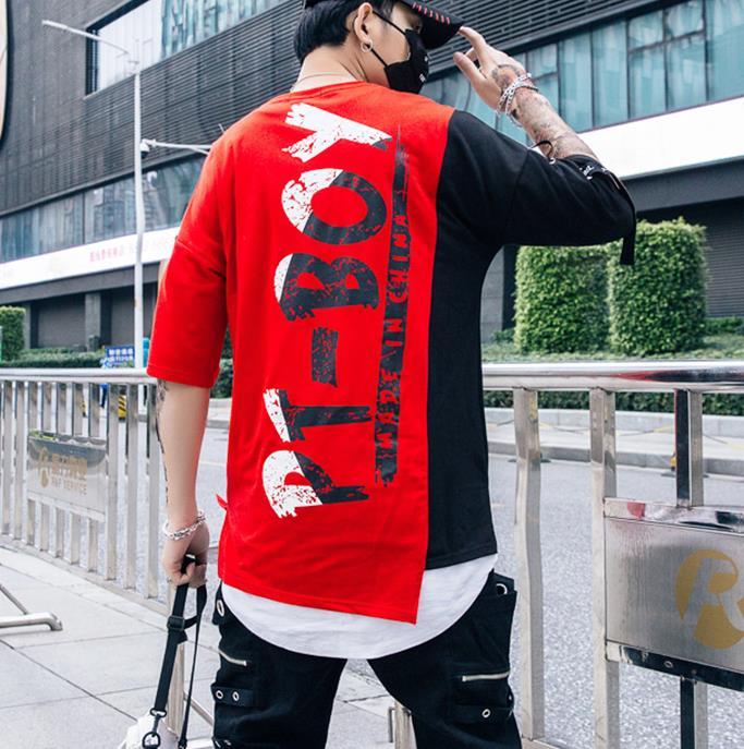 Hip Hop Patchwork Print T-shirts Men Streetwear tshirt Short Sleeve Irregular Hem 2019 Summer Spring Hip Hop Tops Tees Male 6