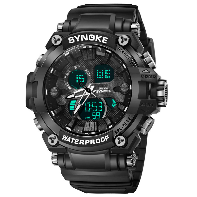 Men Sports Watches Dual Display Analog Digital LED Electronic Quartz Wristwatches Waterproof Swimming Military Watch #4M29#F