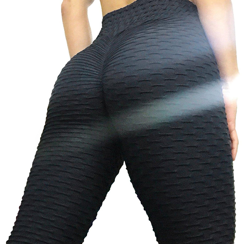 Womens Sport Butt Lift Vita Alta Che Dimagrisce Le Ghette Strutturato Activewear Yoga Pantaloni Skinny Tights