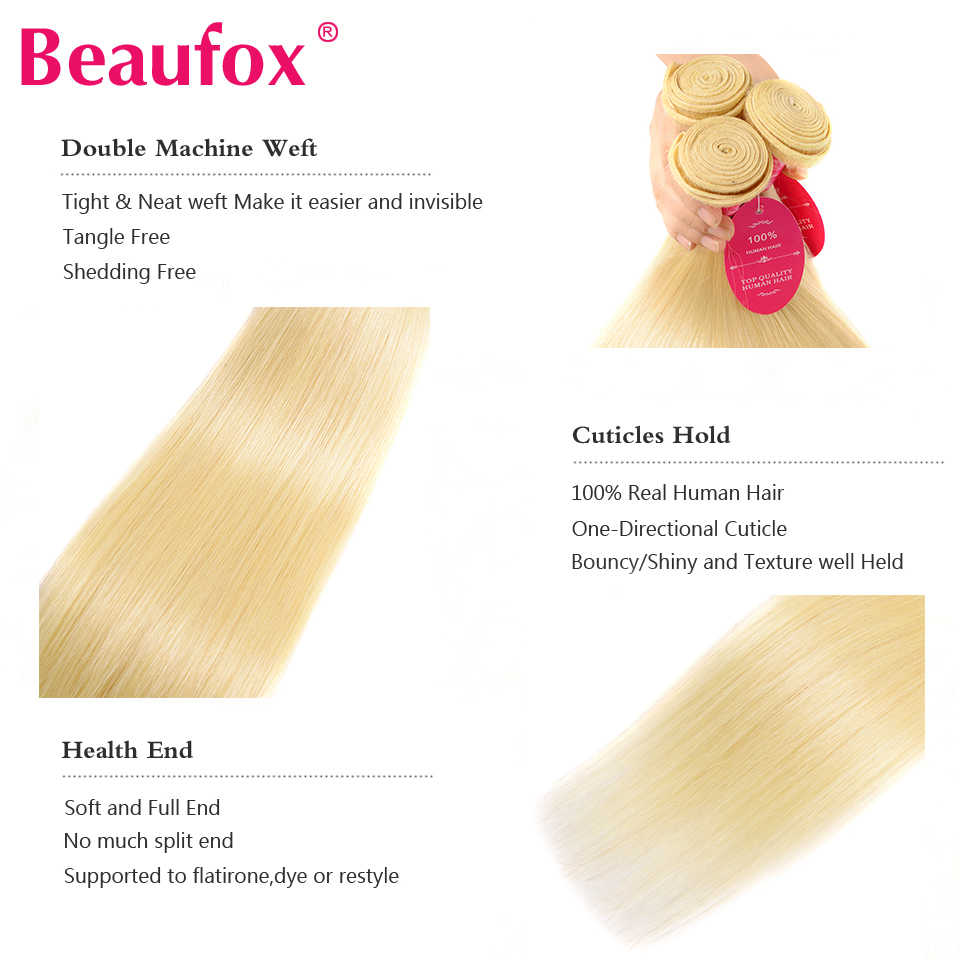 Beaufox 613 Blonde Hair Peruvian Straight Hair Human Hair Extensions Remy 613 Blonde Bundles 8-26 Inches Free Shipping