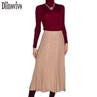אופנה חצאית וינטג 'סגנון אלגנטי סרוג נשים קפלים חצאיות גבוה מותן אונליין ארוך חורף 2017 סתיו חדש חצאית Saia D149