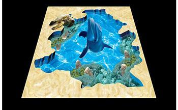 Papel Pintado De Foto 3d Personalizado 3d Suelo Pintura Papel Tapiz Mundo Subacuático Azulejos De Baño 3D Decoración De Sala De Estar