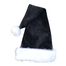 74a9336d5faa1 28 inch Black Christmas hat Santa for Adults Plush Black Velvet Comfort  Liner Christmas Halloween Costume