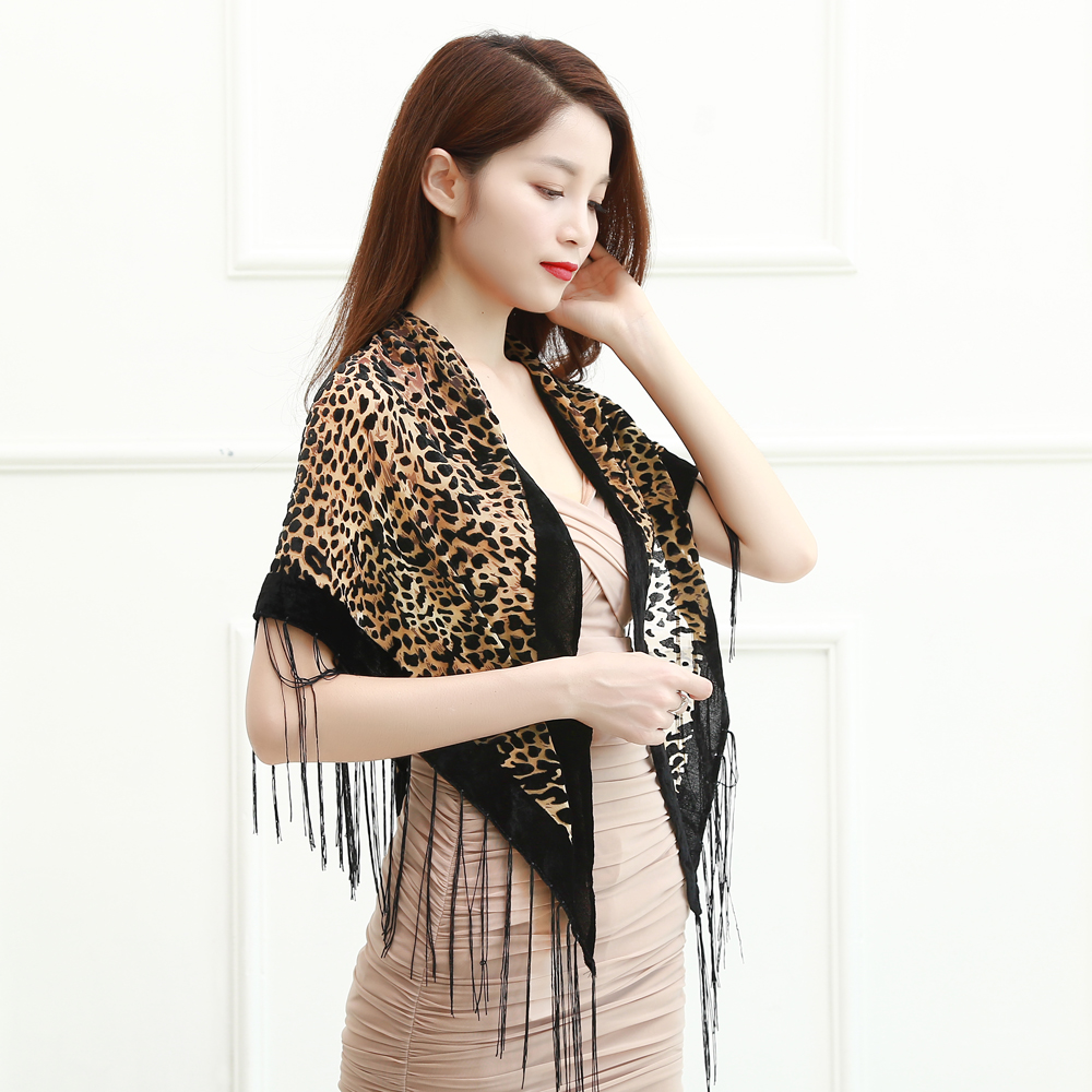 Women Autumn Winter Flower Leopard Print Triangular Scarf Female  Burnout Velvet  Shawl Women For Mom Free Shipping