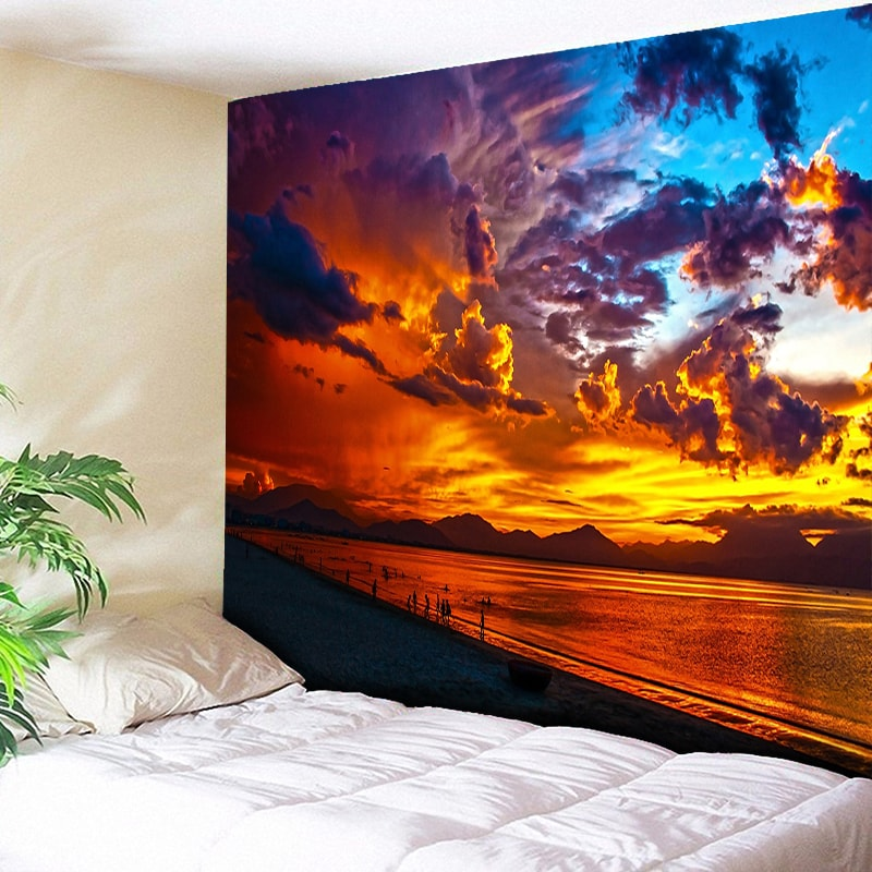 Fire Cloud Sunlight Beach Wall Tapestry Home Decor Carpets Hanging for Living Room Bedroom Tapestries Boho Fabric Art