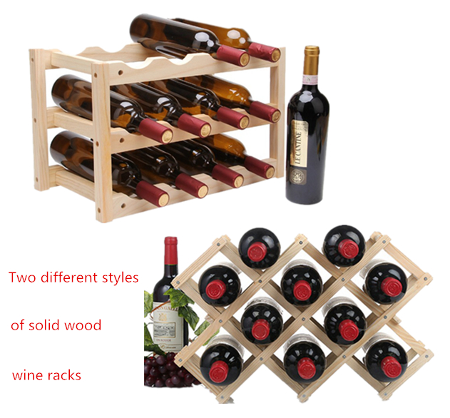 Red Wine Rack 10/12 Wooden Bottle Holder Mount Bar  Solid wood Shelf Folding Wood Wine Rack Alcohol Neer Drink Bottle Holders