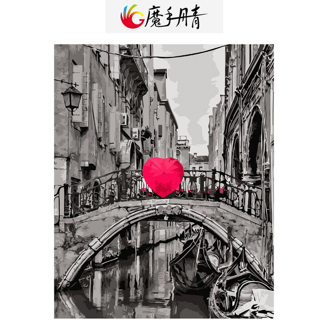 Diy Oil Painting By Numbers Brush Red Umbrella Handpainted By Number