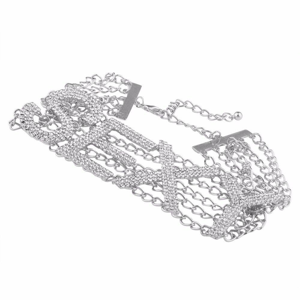 Rhinestone choker necklace luxury fashion crystal choker sexy word chocker bling jewellery glam women's jewelry