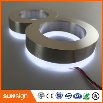 H 20cm Backlit stainless steel shop front signs LED 3D illuminated letters signs for Advertising customized