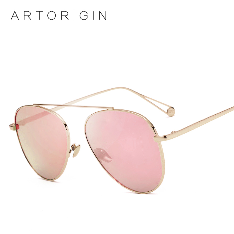 ARTORIGIN Women Flat Aviation Sunglasses Men Mirrored Sun Glasses Female Panel Shade Full Metal Frame AT922