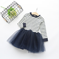 Girls Dress 2016 Winter Girls Dresses Long Sleeve Black&White Striped Mesh Design Princess Dress Children Clothing