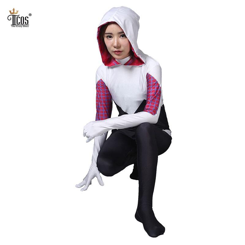 Gwen Stacy Spider-Gwen Cosplay Traje de mujer araña Disfraces de manga larga de cuerpo completo Spandex Nylon Lycra Halloween Zentai Body