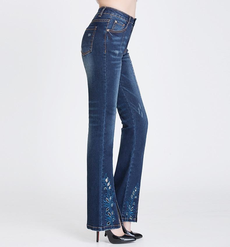 KSTUN FERZIGE Jeans Women Dark Blue Boot Cut Embroidered Hollow Out Flared Pants High Waist Stretch Long Trousers Mom Jeans Push Up 36 17