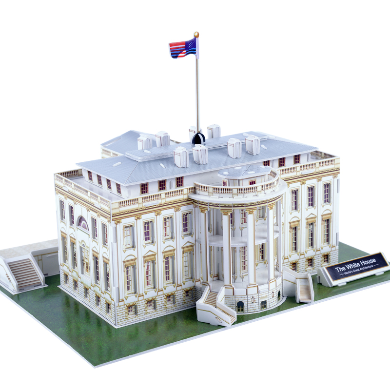 Educational Toy 1pc Creative Usa The White House 3d Paper Jigsaw Puzzle Assembling Model Building Kits