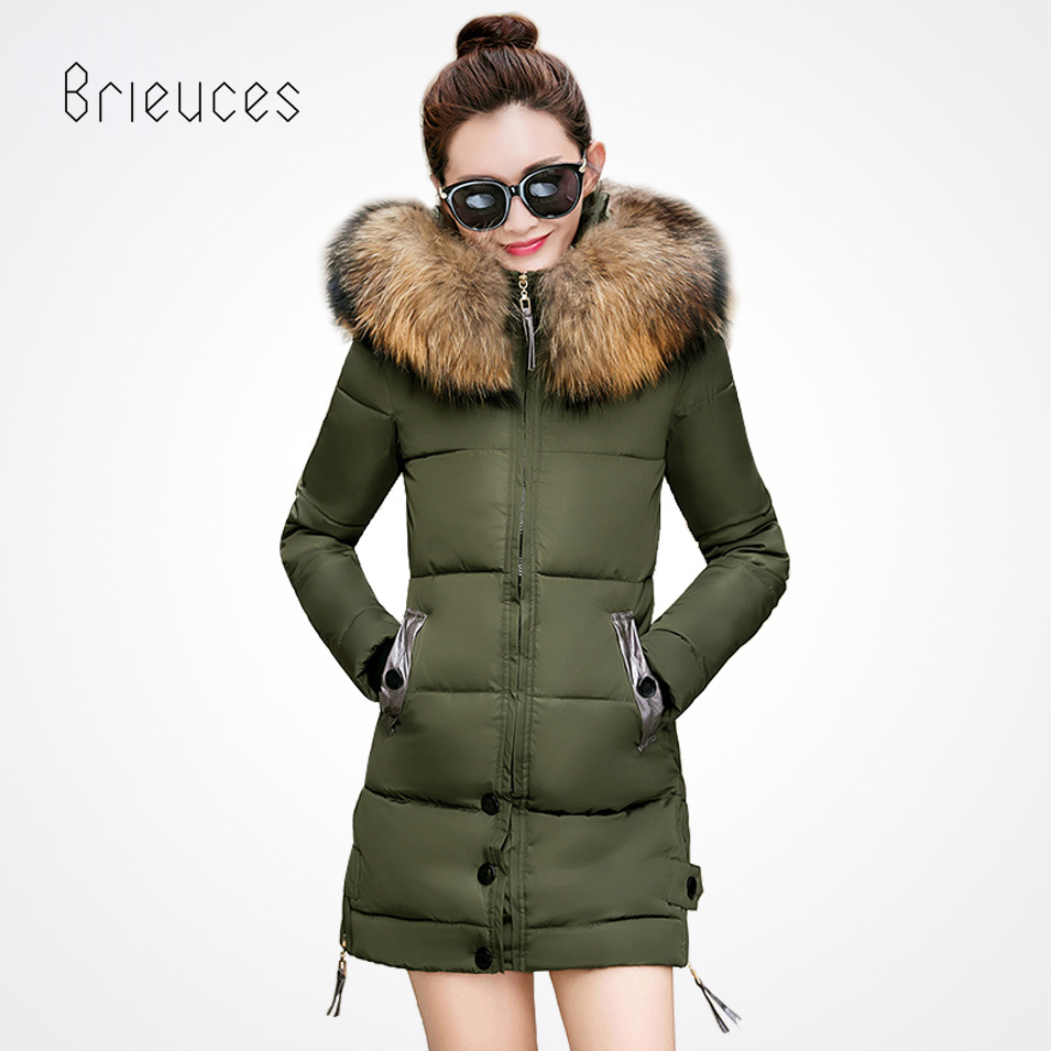 Brieuces winter jacket women slim long cotton-padded Hooded warm jacket parka female wadded jacket outerwear winter coat women x long cotton padded jacket female faux fur hooded thick parka warm winter jacket women solid color wadded coat outerwear tt763