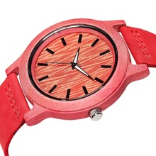 Mens colorful bamboo Luxury Watch cow leather Band Top Brand Wooden Design Quartz Movement Male Bamboo case Wood Watches