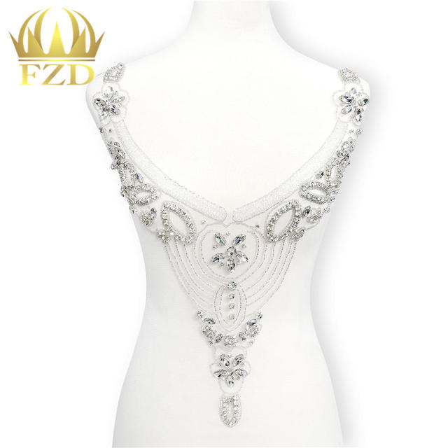 1Piece Hot Fix Beaded Crystal Sequins Rhinestone Applique Large Patches for Wedding  Dress DIY Bridal Waist Decoration With Gauze 3a8d4000dbf6