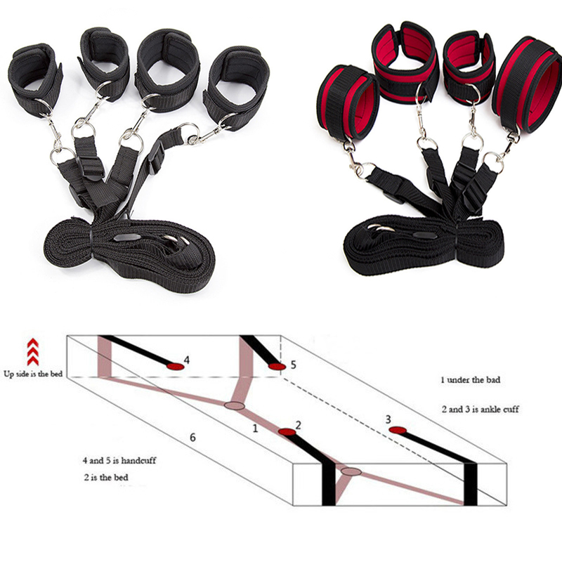 Bdsm Bondage Set Restraint Adult Sex Toys For Woman Couples Handcuffs For Sex Leg Open Games+wrists Ankle Cuffs Under Bed System Beautiful In Colour Women's Exotic Apparel