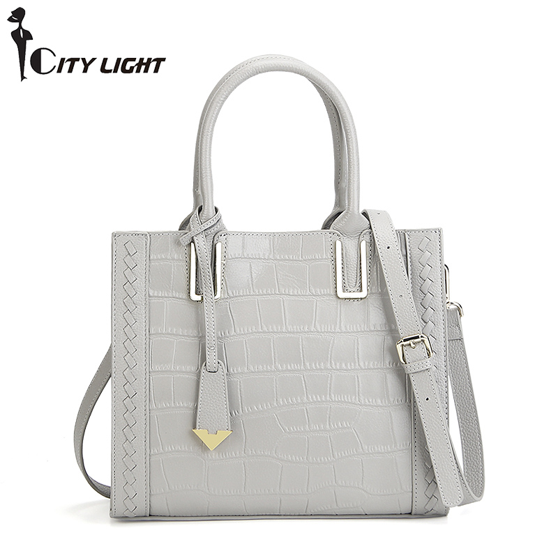New arrival genuine leather women bags crocodile pattern handbag fashion simple tote shoulder bag women messenger