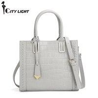 New arrival genuine leather women bags crocodile pattern handbag fashion simple tote shoulder bag women messenger bag