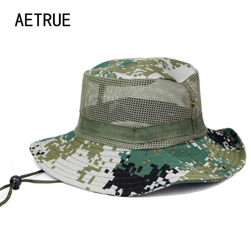 Aetrue Arbeiten Sonnenhüte Für Männer Floppy Straw Sommer Hüte Frauen Camouflage Marke Strand Panama Tactical Airsoft Sniper Kappe 2018 Auswahlmaterialien