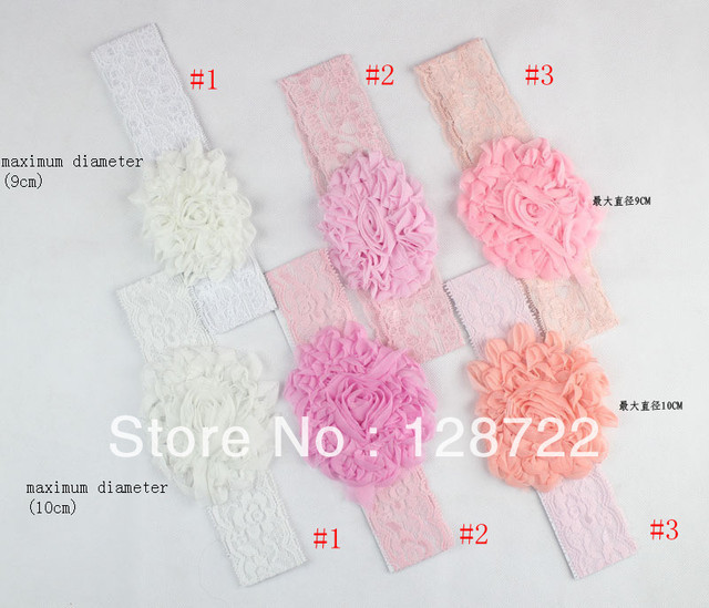 24 pcs per lot mixed color cute big fabric net flower baby kids infant Crochet Headbands & elastic hairbands FREE SHIPPING