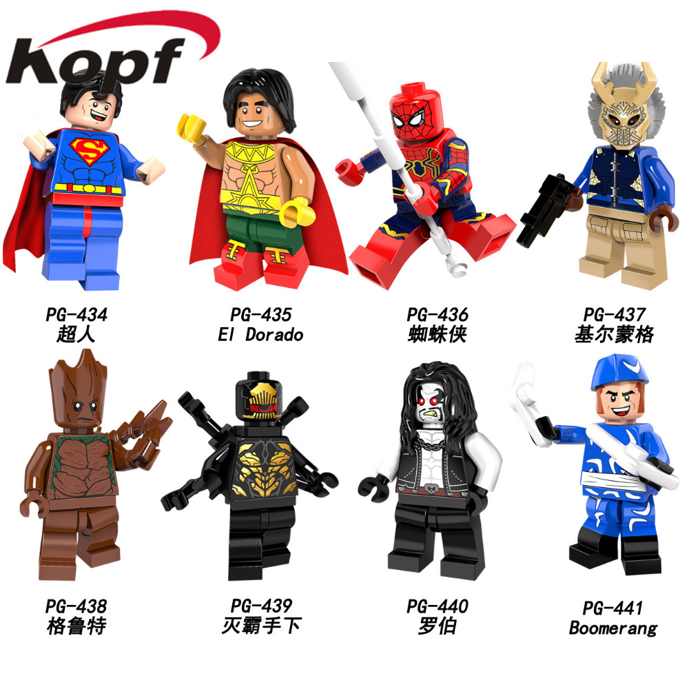 Single Sale Super Heroes Superman El Dorado Spiderman Lobo Boomerang Bricks Action Building Blocks Children Gift Toys PG8109 цена