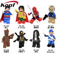 Egyszeri eladó Super Hősök Superman El Dorado Pókember Lobo Boomerang Tégla Akció Építőelemek Gyerek Ajándék Játékok PG8109