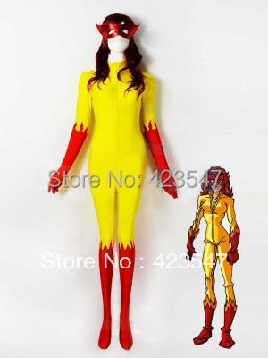 Halloween Cospaly Marvel Comics Firestar Tights Zentai Filmer Spela - Maskeradkläder och utklädnad