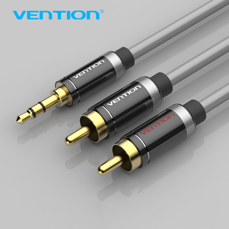 Vention RCA Audio Cable 2 RCA To 3.5mm Jack AUX Cable Silver plated 2 RCA Cable For Home Theater iPhone Headphone DVD 1m 2m 3m