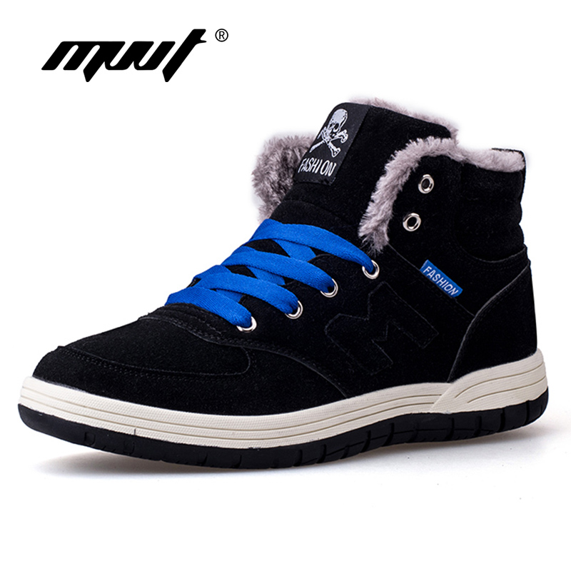 MVVT Super Warm Winter Boots Men Snow Boots With Fur Keep Warm Platform Men Winter Snow Shoes Waterproof Ankle boots platform bowkont flocking snow boots page 9