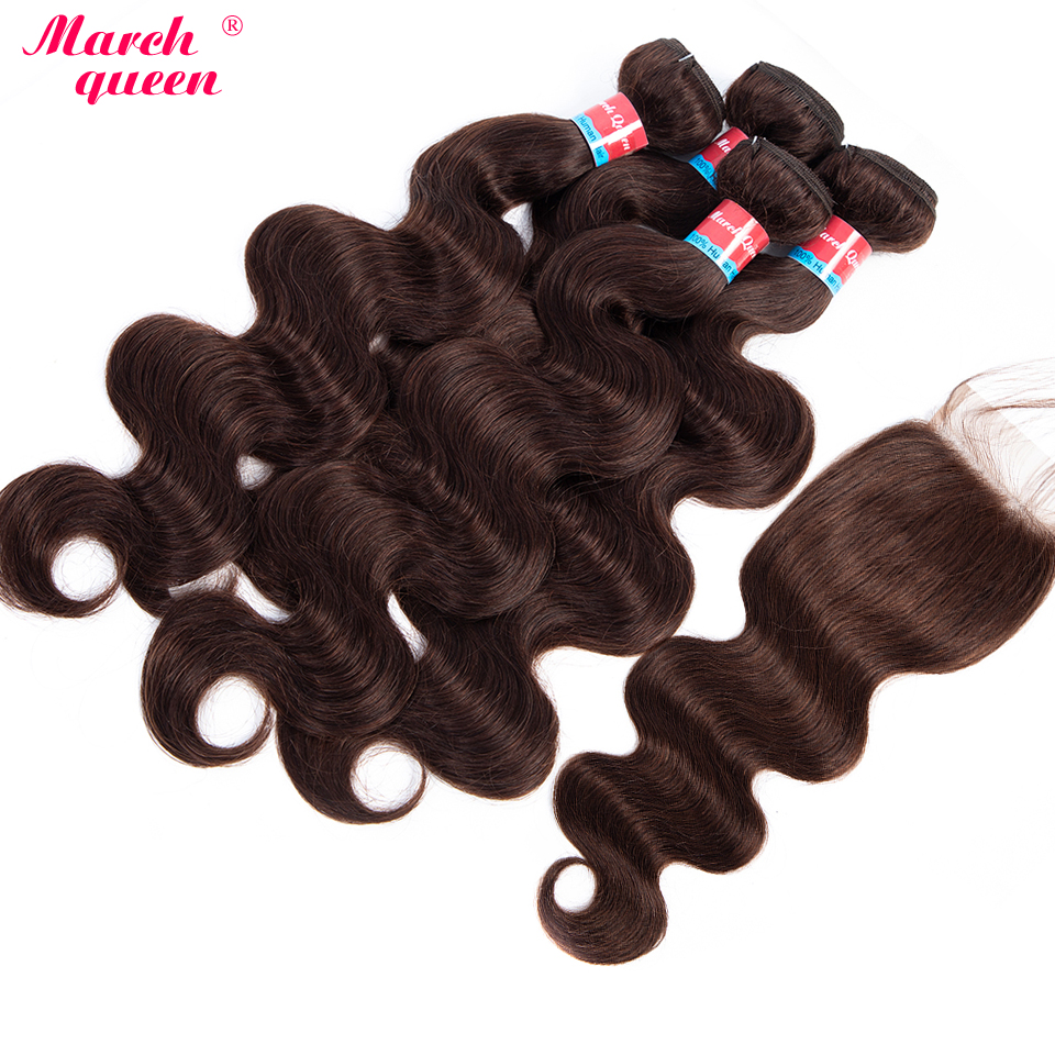 Marchqueen Mongolian Hair Weave 4 Bundles With Lace Closure #2 Dark Brown Pre-Colored Body Wave Human Hair Bundles Non Remy Hair