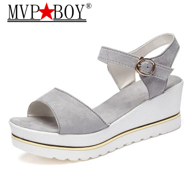 84613a74ca21 2018 Summer New Female Platform Wedge Peep-Toe Women Shoes Waterproof  Buckles thick soles Muffin bottom High-Heeled sandals