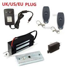 التحكم عن بعد 100lbs جزءا لا يتجزأ من قفل مغناطيسي صغير 60 كجم قفل مغناطيسي كهربائي + جهاز التحكم عن بعد 12 فولت امدادات الطاقة
