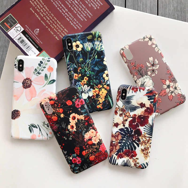 LACK Retro ดอกไม้สีสันโทรศัพท์กรณีสำหรับ iphone XR XS Max X 6 6S 7 8 Plus 11 11Pro max Leaf Matte Soft Art ปกหลังดอกไม้