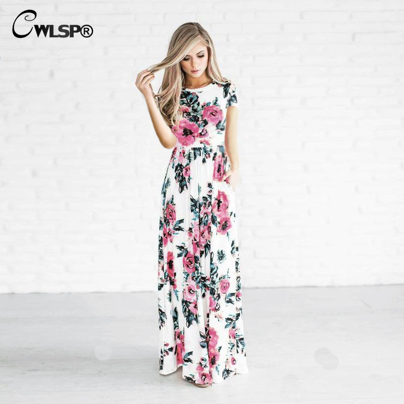 CWLSP Hot Sale Womens Elegant Dress For Summer Print Floral Maxi Dress Short Sleeve Plus Size Dress For Holiday Vestido QZ2604