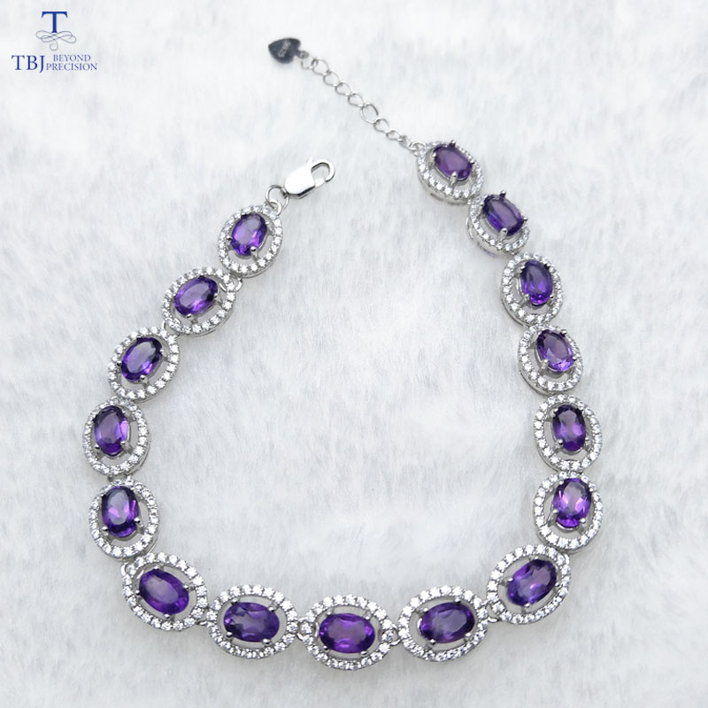 TBJ 100 natural 16pcs of oval 4 6mm 8 ct amethyst bracelet in 925 silver classic