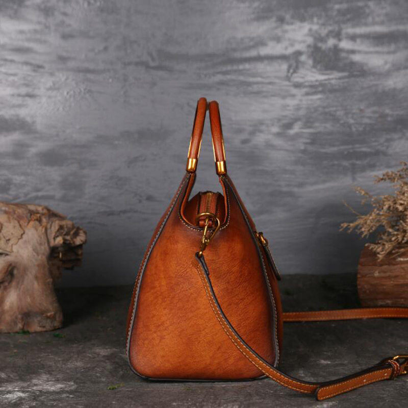 NIUBOA Original 100% Echtem Leder Tasche Retro Rindsleder Frauen Handtaschen Hohe Qualität Vintage Manuelle Malerei Crossbody Hobos Taschen-in Taschen mit Griff oben aus Gepäck & Taschen bei  Gruppe 3