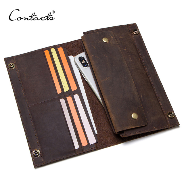CONTACTS crazy horse genuine leather mens long wallet for cell phone vintage hasp clutch wallets male card holders slim purse
