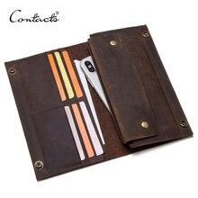 CONTACTS crazy horse skórzany męski długi portfel na telefon komórkowy vintage hasp portfele kopertówki męskie etui na karty cieńka torebka