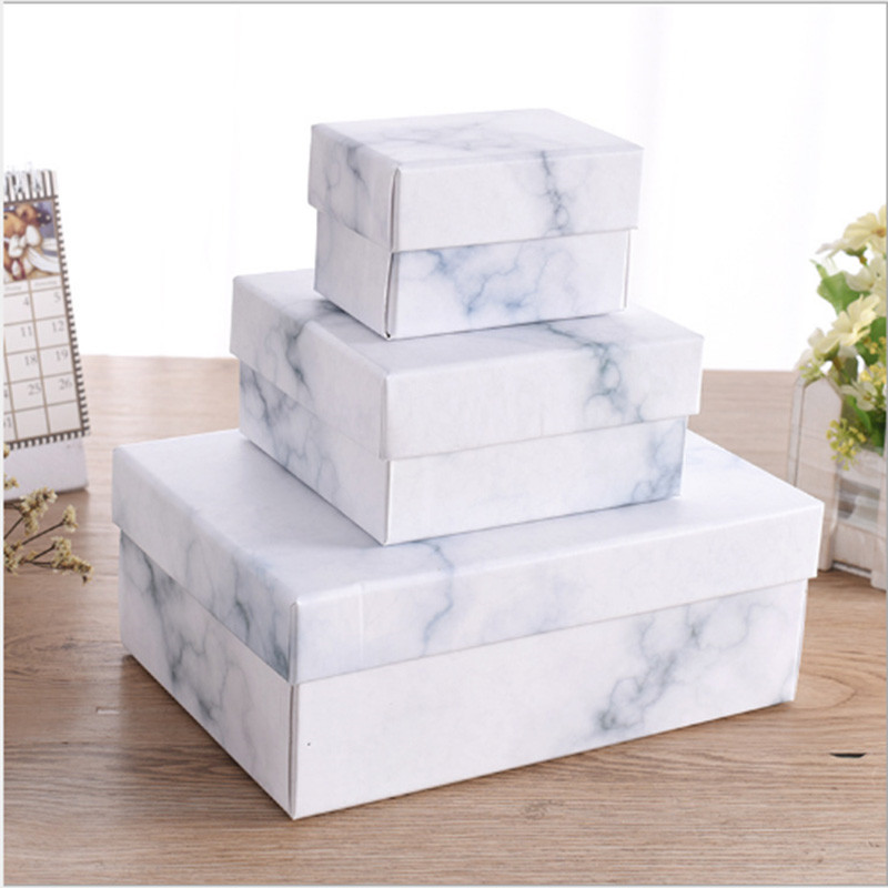 10pcs Marble Design Box With Hand Bag Paperboard Gift