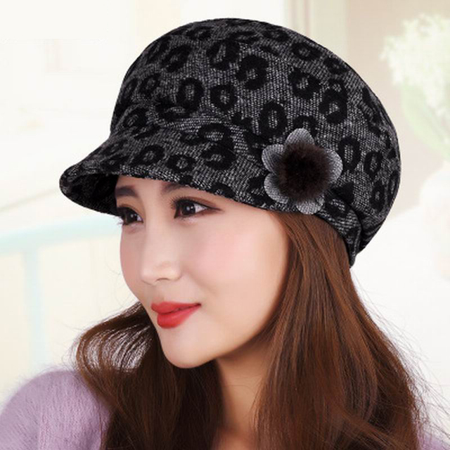 Hat female autumn and winter beret winter elegant woolen cap fashionable  casual painter cap bucket hats thermal c53962aef9a5