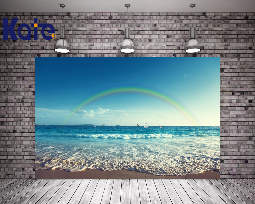 KATE 10ft Photography Backdrops Baby Background Sea Beach Backgrounds Rainbow Backdrop Summer Scenery Backdrop for Photo Studio kate photo backdrop beach baby