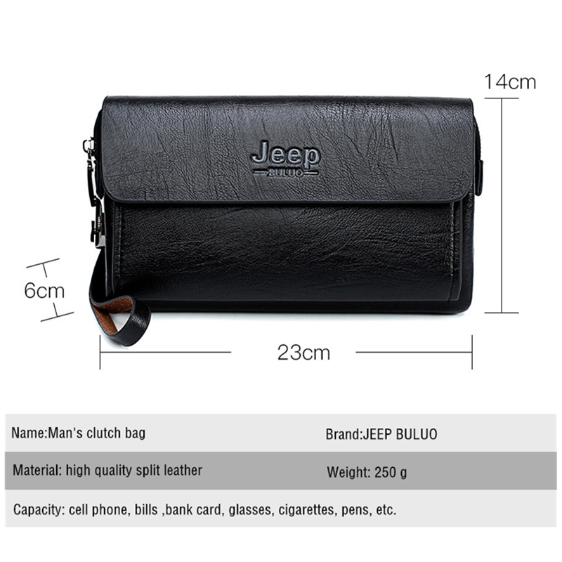 JEEP BULUO Luxury Brand Day Clutches Bags Men's Handbag For Phone and Pen High Quality Spilt Leather Wallets Hand bag Male