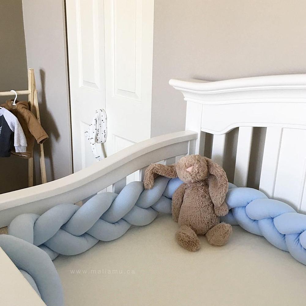 Длина 200 см, высота 12 см, одноцветная детская мягкая подушка, плетеная детская кроватка, бампер, подушка с узлом, подушка, колыбель, декор для маленьких девочек и мальчиков - Цвет: Blue 2M