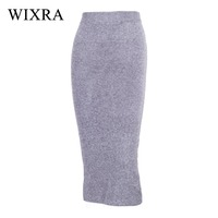Wixra Warm And Charm High Quality Knit Skirt Women Black Formal Rabbit Hair Pencil Skirt Occupation