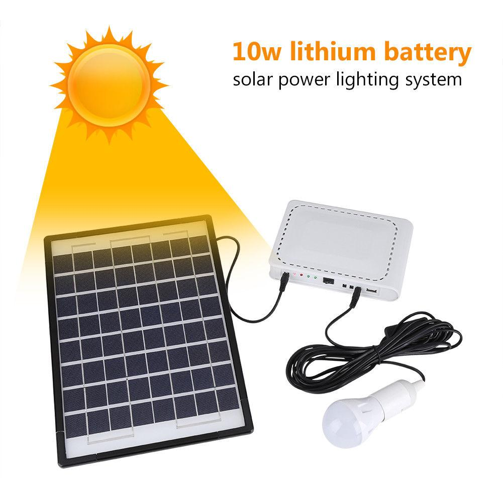 NEW 10W Solar Panel Power Generator LED Lighting Kit USB Multi-adapter ChargerNEW 10W Solar Panel Power Generator LED Lighting Kit USB Multi-adapter Charger